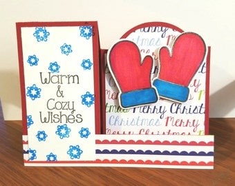 Christmas card, handmade holiday card, mittens