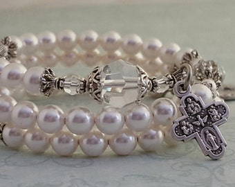 Rosary Bracelet, Swarovski Pearl, Crystal, Miraculous Medal, Strong Stainless Steel, Five Decade, Heirloom Style, Memory Wire,Wrapped Rosary