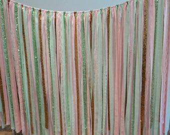 Pink Mint Gold Sparkly Fabric Garland Wedding Garland Shower Decor Wedding Photo Back Drop Smash Cake Photo Ribbon Garland Hippie Curtain