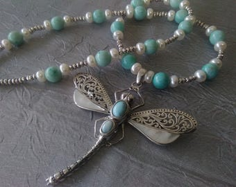 Larimar, Pearl, and Silver Dragonfly Necklace