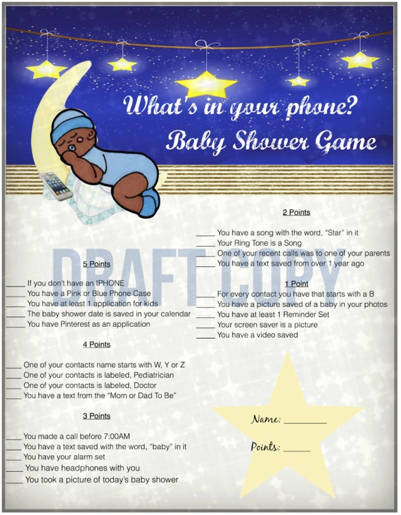 baby shower game whats in your phone twinkle twinkle little star