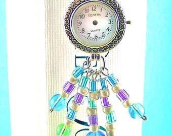 "Stopped Watch Bookmark - White Faced ""Time Stands Still"" Watch Head - Mixed Media Pastel Beads - Silver Plated Shepherd Hook"