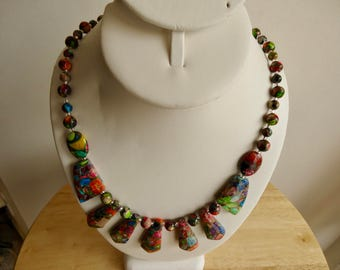 Necklace, Jasper Necklace, Sea Sediment Necklace, Heated only, Gemstone Pyrite,