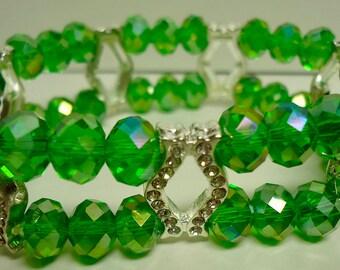 Bracelet, Double Strand Green Stretchy Swarovski Crystal Bracelet with 7 silver tone connectors
