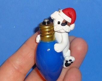 Polymer Clay Bulldog on Blue Glass Bulb Ornament