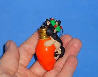 Polymer Clay German Shepherd Dog on Orange Bulb Ornament