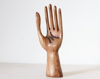 Ring Holder - Carved Wood Hand  - Wooden Jewelry Display Stand - Vintage Boho Home Decor