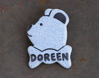Doreen Lapel Pin - Teddy Bear Name Brooch - Enamel on Copper Badge - Speckled Blue
