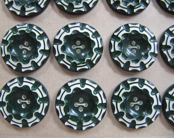 Art Deco 1930's buttons, 24 vintage casein buttons, galalith plastic buttons 7/8 inch, made in Germany, 23mm dark green white button, unused