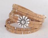Natural Cork Wrap, Whirly Wrap bracelet, Cork, silver sparkling flecks, soft natural cork, silver flower, secure magnet, easy on and off