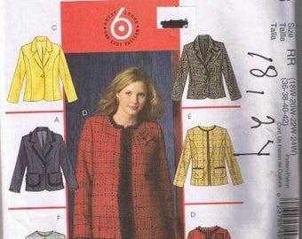 McCall's 4933 Women's Women's Petite Lined Jacket Sizes 18W 20W 22W 24W UNCUT Factory Folded