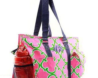 Personalized Diaper Bag, Monogram Diaper bag , Baby Bag, Bagy Shower Gift, in Geometric Print Pink and Green