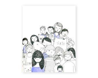 Crowd Illustration, 8x10, fine art print