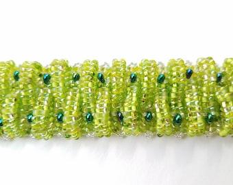 green beaded bracelet, handmade bracelet, handmade jewelry, beaded jewelry, beaded bracelet, cuff bracelet, basket weave bracelet