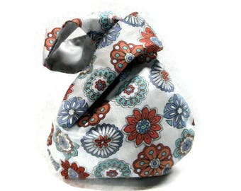 New, Japanese Knot Gift Bags, Small Reversible Fabric Bag, Womens Gift, Wristlet , Eco Friendly Packaging