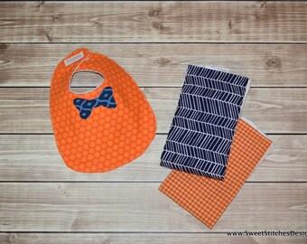 Baby Boy Orange and Blue Burp Cloth Orange Navy Bowtie Bib BabyGift Set Best Burp Cloth Bib Set Baby Shower Gift UF Clemson Auburn