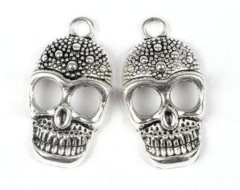 """4pcs-1.5""""Skull charm pendant -antique tone Skull charm pendant"""
