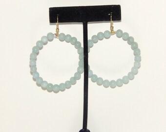 Amazonite Earrings, Hoop Earrings, Beaded Earrings, Big Earrings, Big Hoop Earrings, Handmade Earrings, Earrings for Women, Gemstone Earring