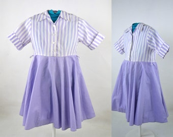 1960s Girls Lavender and White Stripe Dress by Spiegel Inc, Circle Skirt Dress