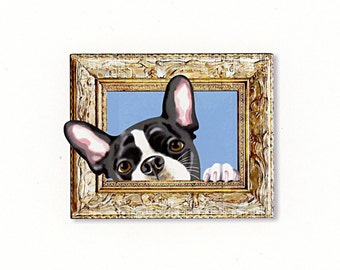 Boston Terrier Tiny Art Print - Black, White and Gold - Dog Art Print - Tiny Boston in a Frame