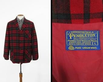 Vintage Pendleton 49er Jacket Red Wool Tartan Topster Jacket - Men's Medium