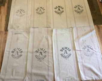 8 pack of Vintage striped Bemis sacks.  1026163