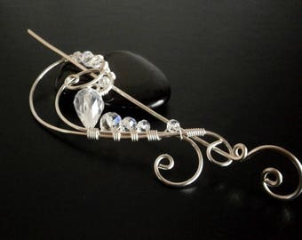 Crystal Shawl Pin, Wire Pin , Scarf Pin, Fibula, Brooch ,Handmade Silver Pin, Wire Shawl PIn