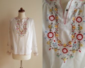 RESERVED - Vintage Hungarian Peasant Blouse - 1970's  Embroidered Blouse  - Size S-M