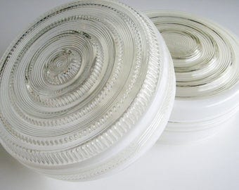 Vintage, Glass Light Shades, Set of Two, School House, Mid Century, Ceiling Shade, Glass Shade, White, Pair, Bulls-eye, Office, Den, Library