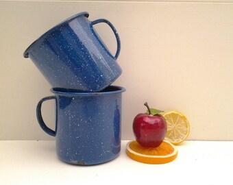 Vintage enamelware mugs - blue enamelware cups - camping dishes - camping mugs - soup mugs - glamping - graniteware - blue enamelware mugs