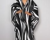 Black and White Maxi Dress - Kaftan Kimono Butterfly Dress: Funky Elegant Collection No.1