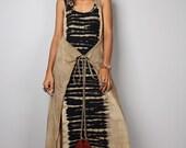 Halter dress, Maxi dress, wrap dress, Tie dye dress, bleached dress, wrap around dress, hippie dress  : Funky Bleach Collection No.3