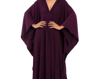 Dark Purple Kaftan Dress - Kimono Butterfly Dress: Funky Elegant Collection No.1s