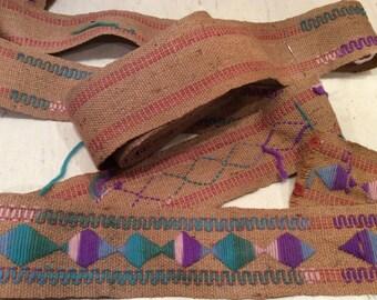 Vintage Create Your Own Design Yarn and Burlap Trim,  Burlap Edging, Craft Supplies, Vintage Trim, Vintage Edging, Vintage Supplies