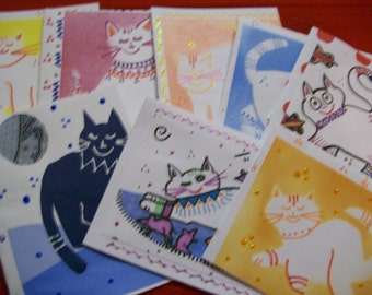 Cats Hand Made Assorted Cards