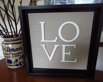 LOVE - Christian WORD Wall Art - Black, White and Taupe I Corinthians 13 Wedding Anniversary Engagement Valentines Gift