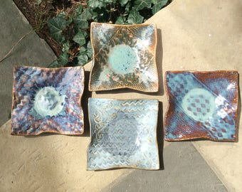 8x8 wavey gravy pottery salad or lunch or dessert plates