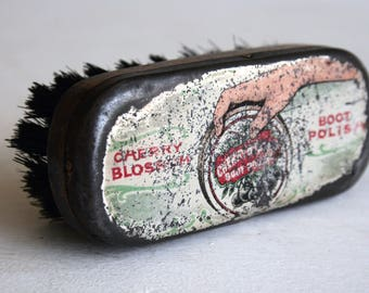 vintage shoe polish brush with metal top advertising cherry blossom boot polish