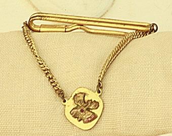 Vintage Moose Lodge Tie Clasp - Mens Brass and Enamel Moose Head Emblem Tie Clip - Vintage Mens Jewelry Collectible