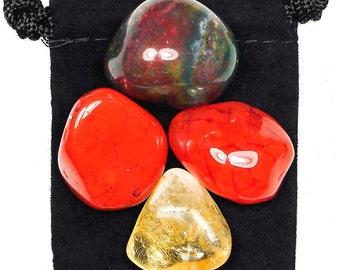 MENTAL EXHAUSTION Tumbled Crystal Healing Set - 4 Gemstones w/Description & Pouch - Bloodstone, Carnelian, Citrine, Jasper