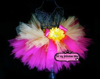 Hot Pink and Yellow Tutu -newborn tutu, toddler tutu, dress up tutu, birthday tutu, dance tutu, pageant tutu, wedding tutu, flower girl tutu