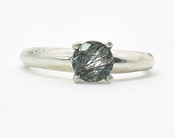 Dark Crystal Ring - Sterling Silver, Quartz Crystal, Bohemian Boho, Gift for her, California Beach Jewelry, Big Bling Cocktail