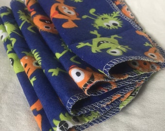 Set of 5 Flannel Washcloths/Baby Wipes