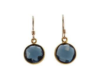 Round Gemstone Dangle Earrings, Chalcedony Earrings, Hydro Quartz Jewelry, Gold Earrings, Choose your color, #6367-yg