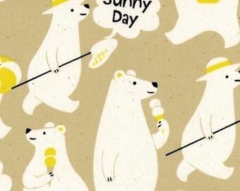 Polar Bear Summer - Bears Beige OXFORD Cotton from Kokka