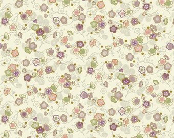 Celebration - Cherry Blossoms Cream with Metallic Accents from Quilt Gate