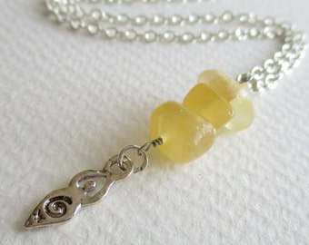 Calcite gemstone charm necklace - spirituality, love, peace, money
