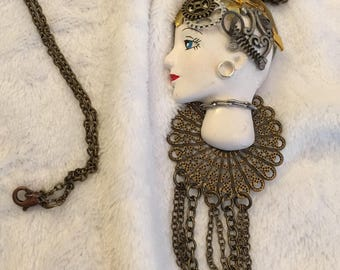 Steampunk Porcelain Necklace-  Elegant, Sophisticated! My favorite piece will be yours!