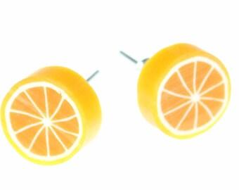 Orange earrings Miniblings earrings oranges fruit fruit around 1cm