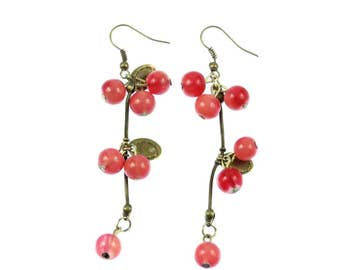 Currant berries with leaves earrings grape berry Miniblings red bronze